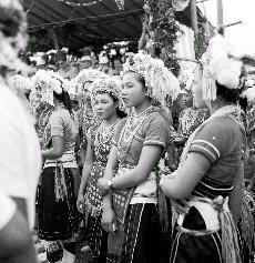 阿美族女性穿著短袖紅襖黑布相間的巾帶,頭上飾有白色羽毛,滿綴珠寶的鳳冠,滿身是串珠和亮片,十分搶眼