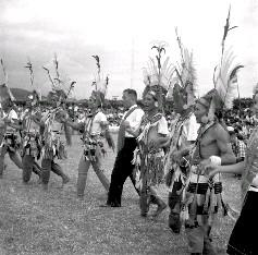 阿美族男士們,頭戴紅巾羽毛,身披綵褂舞環,配合著悠揚的歌聲起舞