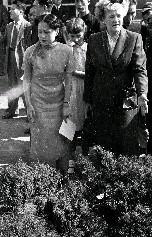 柯克夫人(右)與陳香梅女士(左)正興高采烈地準備挑選耶誕樹情形