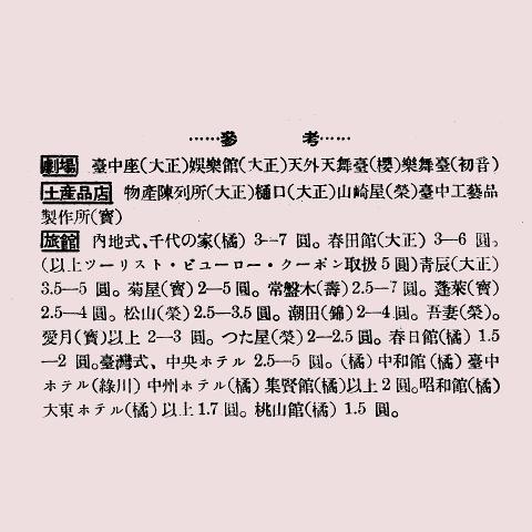 36鐵道部發行《臺中及其附近簡介》收錄臺中市劇場的相關資訊